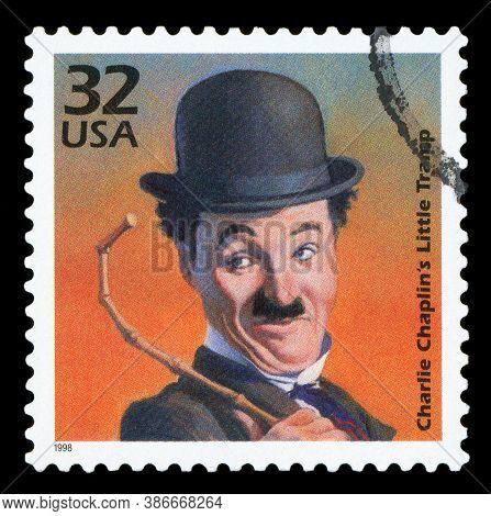 United States Of America - Circa 1998: A Stamp Printed In Usa Shows Portrait Of Charlie Chaplin 1889