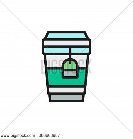 Tea In Disposable Cardboard Cup, Takeaway Flat Color Line Icon.