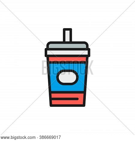 Disposable Cup With Drink, Takeaway Flat Color Line Icon.