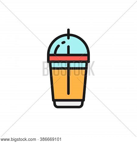 Disposable Cup With Milkshake, Takeaway Flat Color Line Icon.