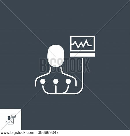 Electrocardiogram Related Vector Glyph Icon. Isolated On Black Background. Vector Illustration.