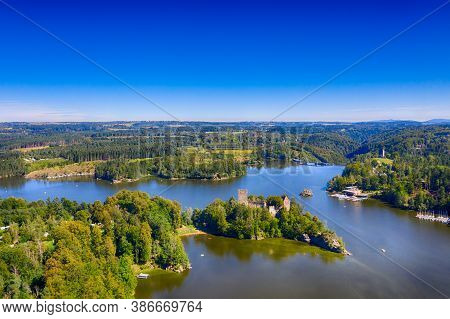 Ottenstein Reservoir And Lichtenfels In Waldviertel, Lower Austria. Aerial View To The Lake And The