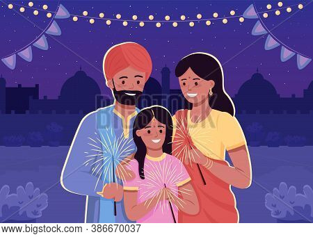 Happy Indian Family Flat Color Vector Illustration. Traditional Hindu Holiday Celebration. Parents W