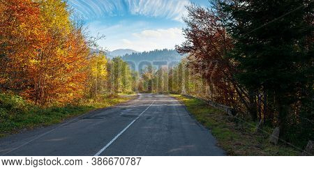 Old Asphalt Road In Mountains. Beautiful Autumn Scenery On A Sunny Day. Trees In Colorful Foliage. C