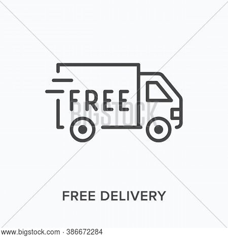 Free Delivery Flat Line Icon. Vector Outline Illustration Of Fast Truck, Parcel Shipping. Local Deli
