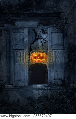 Pumpkin Monster Head On Man Body Standing In Old Damaged Wood Window With Wall Over Cross, Church, B