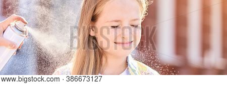 Beautiful American Portrait Of Girl. Hairsprair At Sun. Styling Outdoors. Product Bottle. Little Fem