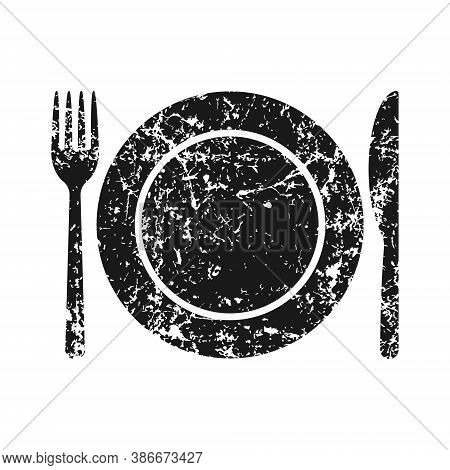 Fork Knife And Plate Icon Logo. Grunge Texture. Simple Flat Shape Restaurant Or Cafe Place Sign. Kit