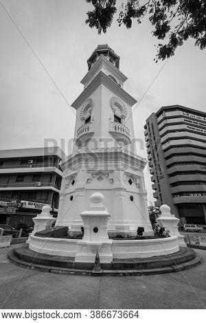 George Town, Penang, Malaysia - December 1, 2019: The Clock Tower In Penang, Malaysia. It Is Moorish