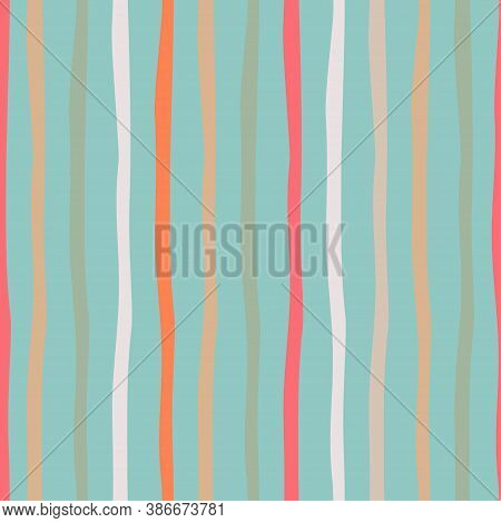 Striped Seamless Pattern On Sea Blue-colored Background. Simple Vector Scalable Design For Surfaces,