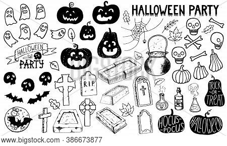 Halloween Party Set. Doodle Pumpkin Gravestone Headstone Celtic Cross Bat Skull Spider Web Cauldron