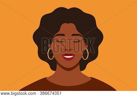 Young African American Woman Smiling With Closed Her Eyes. Black Dreamy Girl On Yellow Background, F