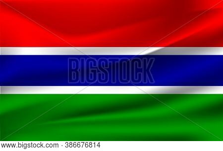 Realistic Waving Flag Of Republic Of The Gambia. Fabric Textured Flowing Flag Of The Gambia.