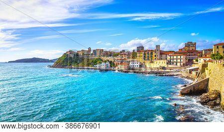 Piombino Seafront View From Piazza Bovio. Maremma Tuscany Italy Europe.