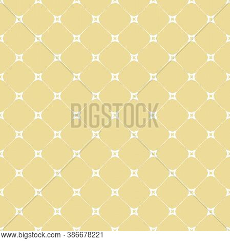 Seamless Vector Ornament In Arabian Style. Geometric Abstract Yellow And White Dotted Background. Pa