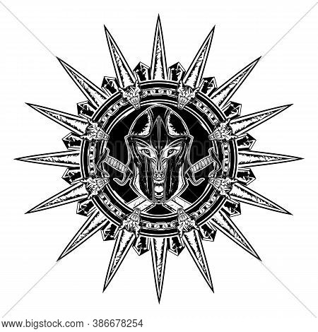 Wolf Warrior. Greek Fantasy Hero On The Background Of Crossed Swords. Spartan. God Of War Ares. Vect