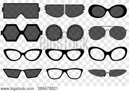Sunglasses Set, Summer Eyewear Sun Protection Sunglass. Vector