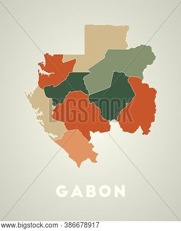 Gabon Poster In Retro Style. Map Of The Country With Regions In Autumn Color Palette. Shape Of Gabon