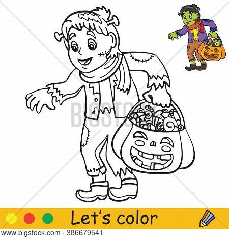 Halloween Coloring With Colored Example Cute Monster