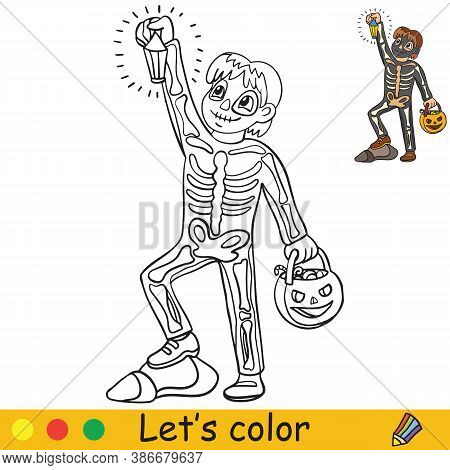Halloween Coloring With Colored Example Cute Skeleton