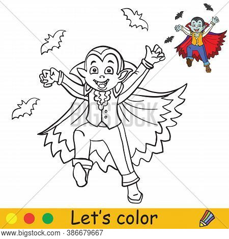 Halloween Coloring With Colored Example Cute Vampire