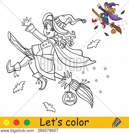 Halloween Coloring With Colored Example Cute Witch