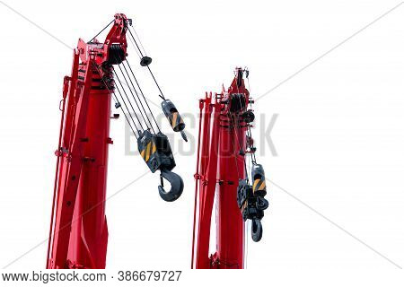 Construction Crane For Heavy Lifting Isolated On White Background. Construction Industry. Red Crane