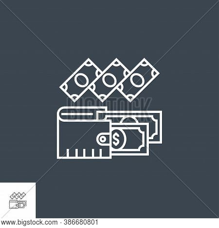 Expenses Related Vector Thin Line Icon. Isolated On Black Background. Editable Stroke. Vector Illust
