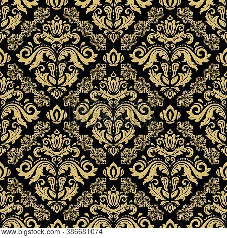 Classic Seamless Black And Golden Pattern. Damask Orient Ornament. Classic Vintage Background. Orien