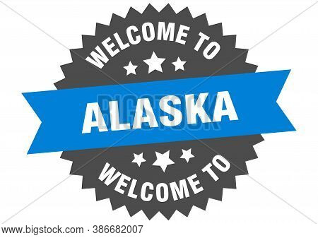 Alaska Sign. Welcome To Alaska Blue Sticker