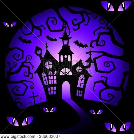 Halloween Background With House And Eye. Halloween Background With Many Eye. Halloween Vector Backgr