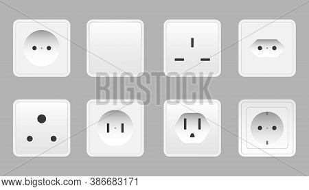 Set Of Realistic Switches And Sockets Of Various Type Isolated. Power Electrical Socket Electricity