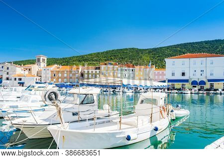 Waterfront And Marina With Boats In The Town Of Cres, Waterfront, Island Of Cres, Kvarner, Croatia