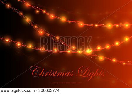Christmas Lights, Xmas Decorations Glowing Garlands. Glowing Lights For Xmas Holiday Greeting Card D