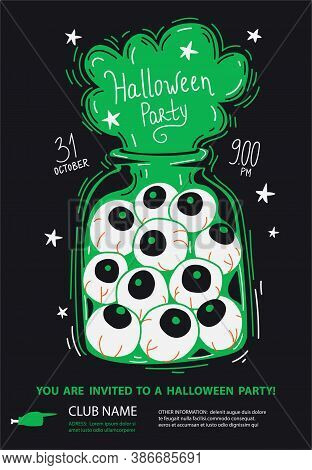 Halloween Invitation Poster With  Zombie Eyes In A Glass Jar And Ghostly Inscription
