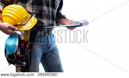 Carpenter Isolated On White Background, Holding A Helmet, Goggles, Leather Gloves, Surgical Mask To