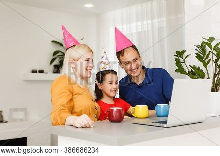 Video Conference Party Online Meeting With Friends And Family. Birthday Party In Facetime Call. Part