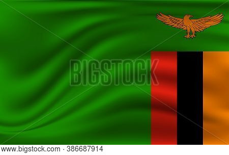 Realistic Waving Flag Of Republic Of Zambia. Fabric Textured Flowing Flag Of Zambia.