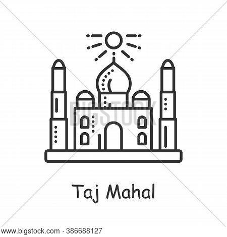 Taj Mahal Line Icon. Ancient White Hindu Temple. Indian Landmark. Palace In Agra. Traditional Mausol