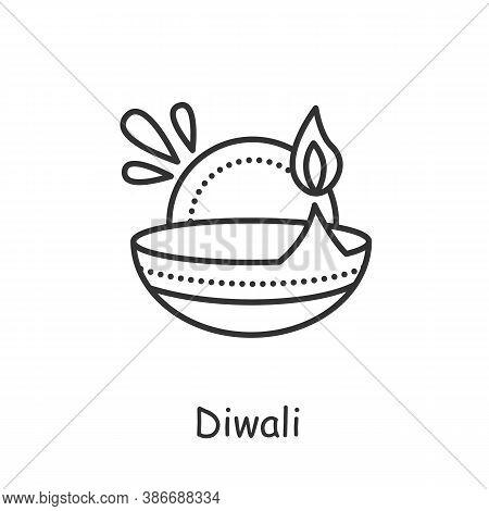 Diwali Line Icon. Burning Oil Lamp. Diya. Indian Festival Of Lights. Traditional Hindu Religious Hol