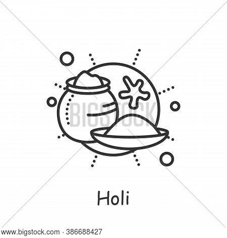 Holi Powder Line Icon. Indian Festival Of Colors. Celebrating The Onset Of Spring. Happy Holi. India