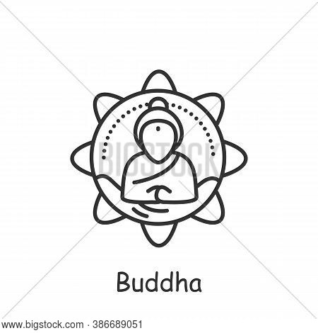Buddha Line Icon. Hindu Deity. Buddhism Symbol. Happy Buddha Purnima. Meditating Buddha. Vesak Day.