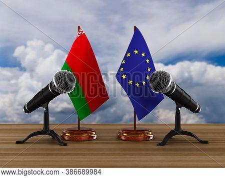 Relationship between Belarus and EU. 3D illustration