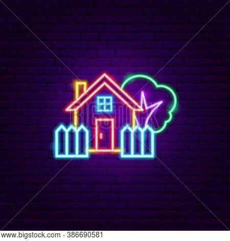 Coutryside House Neon Sign. Vector Illustration Of Building Promotion.
