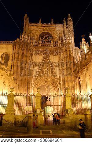 Seville, Spain - April 07, 2009 - Puerta De San Cristobal (puerta De La Lonja) Entrance To The Cathe