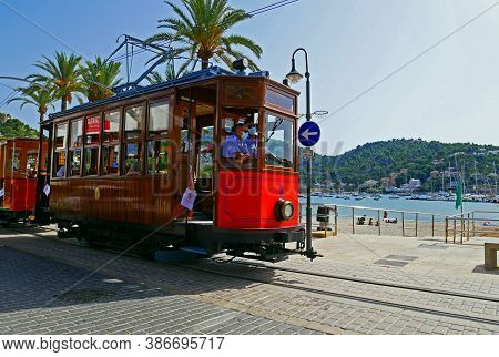 Port Of Soller, Spain - July 20 2020:  Soller Tramway Line Driving In Port Of Soller, Mallorca, Spai