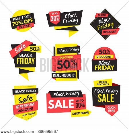 Black Friday Sales And Discount Banner Collection. Advertising Labels In Origami Vector Design. Perf