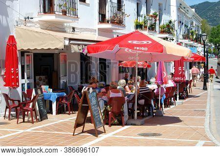 Mijas, Spain - April 22, 2008 - Outdoor Dining At A Village Centre Cafe, Mijas, Spain - April 22, 20