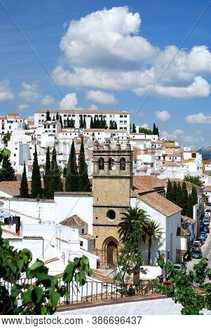 Ronda, Spain - May 13, 2008 - View Of Our Father Jesus Church In The Old Town Surrounded By White Bu