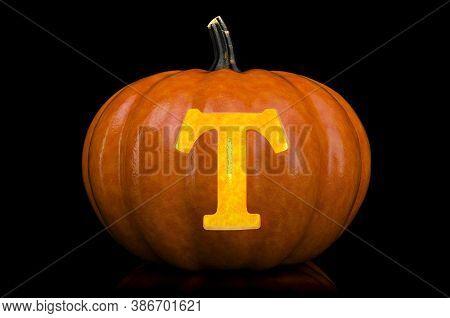 Glowing Letter T Carved In Pumpkin. Halloween Font On Black Background, 3d Rendering